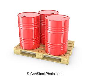 barils, palette, trois, rouges
