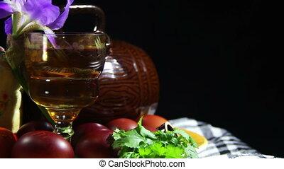 barils, plaque, tourner, oeufs, paques, géorgien, vin