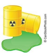 barils, radioactif, renversé, illustration, vecteur, jaune, ...