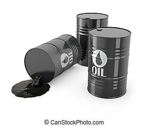 barils, renversé, huile, trois