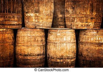 barils, vendange, style, empilé, whisky