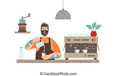 Barista adds milk to cup of coffee at the counter flat vector illustration