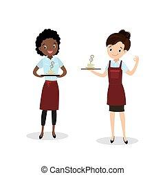 barista, américain, caractère, caucasien, beauté, ou, femme, femme, uniforme, dessin animé, serveur, africaine