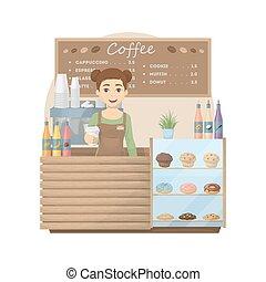 Barista at coffee shop.