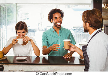 barista, dienst, zwei, glücklich, kunden