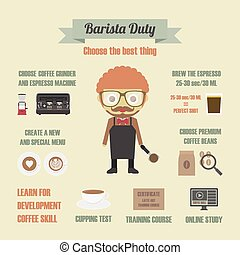 barista duty, choose the best thing, pastel, infographic