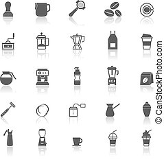 Barista icon with reflect on white background