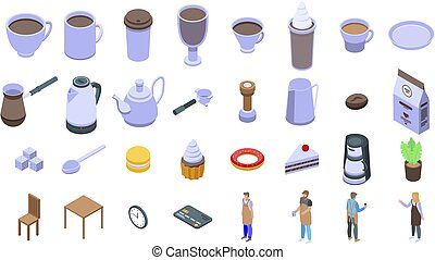 Barista icons set. Isometric set of barista vector icons for web design isolated on white background