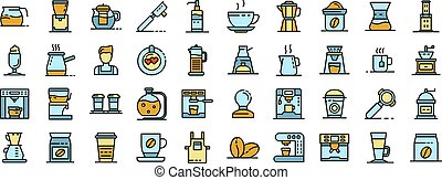 Barista icons set. Outline set of barista vector icons thin line color flat on white