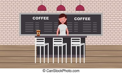 coffee shop interior - barista in counter bar coffee cups...