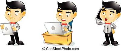 barista, laptop, vettore, arte