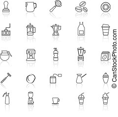Barista line icon with reflect on white background