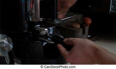 Barista makes coffee in coffee bar - Barista makes coffees...