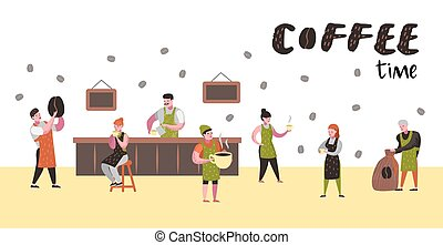 barista man and woman flat characters in coffee shop cartoon cafe staff with cup mug and coffee clipart vector csp60149450