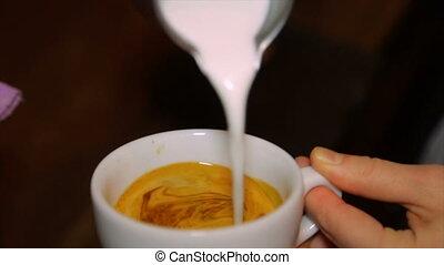 Barista pours fresh milk into coffee. Cappuccino. - Pouring...