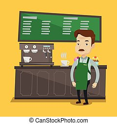 An adult barista sanding in front of coffee machine. Barista at coffee shop. Barista making a cup of coffee. Vector flat design illustration. Square layout.