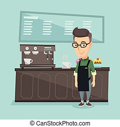 Barista standing near coffee machine.