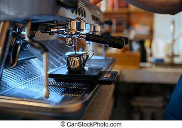 Barista workplace, coffee machine in cafe, nobody. Bar equipment for preparation of fresh espresso, professional cafeteria tools