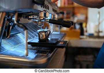 Barista workplace, coffee machine in cafe, nobody. Bar ...