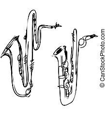 baritone, bajo, instrumento, saxófono, latón, musical