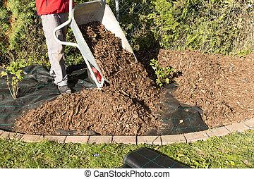 bark mulch - spread mulch in rebates