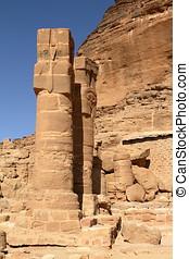 barkal, ruínas, templo, jebel