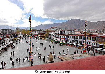 Barkhor Square view from roof of Jokhang temple in Lhasa, ...