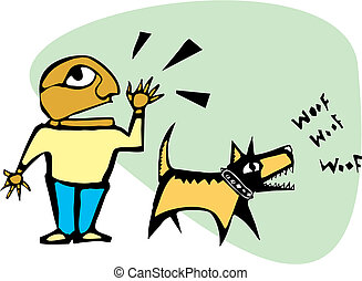 Barking Dog - Man yelling while his dog is barking.