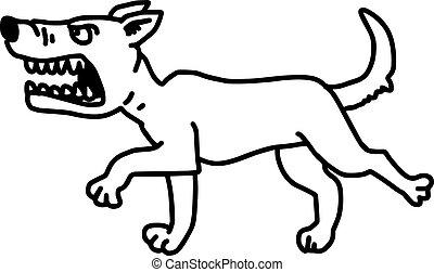 barking dog vector illustration sketch hand drawn with black lines, isolated on white background