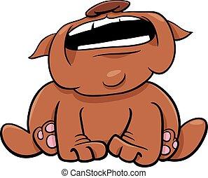 Cartoon Illustration of Bulldog Dog Animal Character Barking or Howling