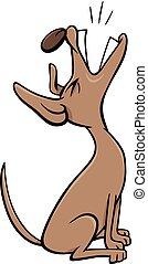 Cartoon Illustration of Dog Animal Character Barking or Howling