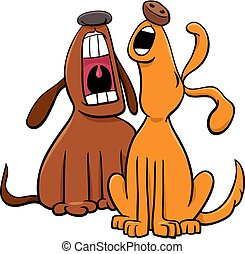 Cartoon Illustration of Two Dogs Animal Characters Barking or Howling