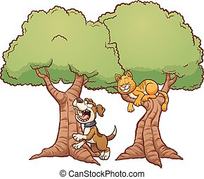 Dog barking up the wrong tree. Vector clip art illustration with simple gradients. Each element on a separate layer.