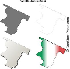 Barletta-Andria-Trani blank detailed outline map set -...