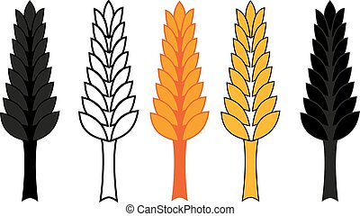 barley ear vector illustration, wheat ear icon set,