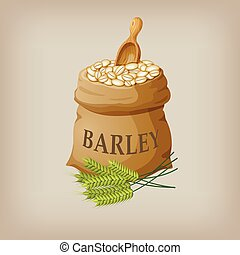 Barley grain seed in the bag. Vector illustration