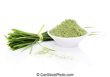 Barley Grass. - Barley Grass and Wheatgrass. Blades and...