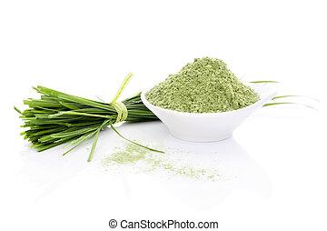 Barley Grass. - Barley Grass and Wheatgrass. Blades and...