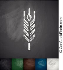 barley icon. Hand drawn vector illustration. Chalkboard...