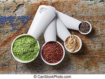 Barley or wheat grass powder, red quinoa, maca powder and chia seeds