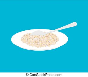 Barley Porridge in plate and spoon isolated. Healthy food for breakfast. Vector illustration