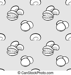 Barm cake seamless pattern greyscale drawing. Useable for wallpaper or any sized decoration. Handdrawn Vector Illustration