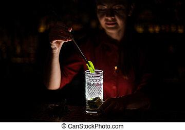 barmaid prepares a mojito in a crystal glass using bar equipment