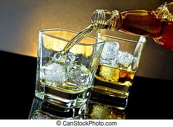 barman, たたきつける, ウイスキー, の前, ウイスキー, ガラス, 上に, 暖かい, ライト