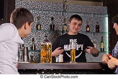 barman, 顧客, 給仕, バーカウンター