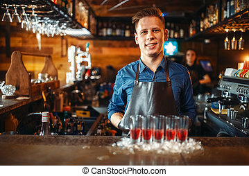 Barman at the counter with glasses standing in ice