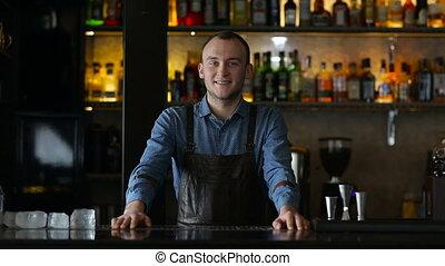 barman, barre, portrait