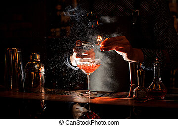 barman, cocktail, brûler, doux, bocal, monture