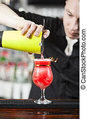 barman, es, elaboración, cóctel