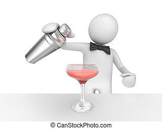 barman, gieten, jouw, roze, cocktail
